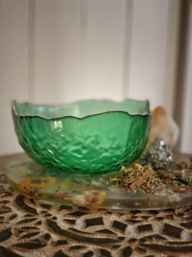 Green Abundance Glass Bowl
