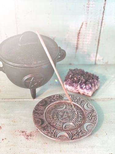 Triple Moon Pentacle Aluminium Incense Burner