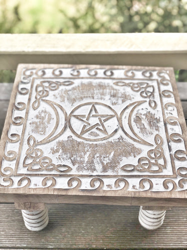 Triple Moon Altar Table- white wash