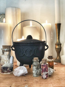 Cast Iron Cauldron-triple moon