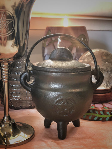 Mini Pentacle Cast Iron Cauldron