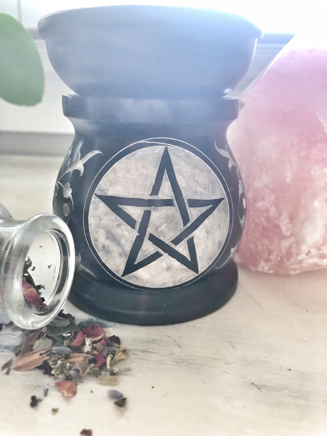 Pentacle soapstone oil burner