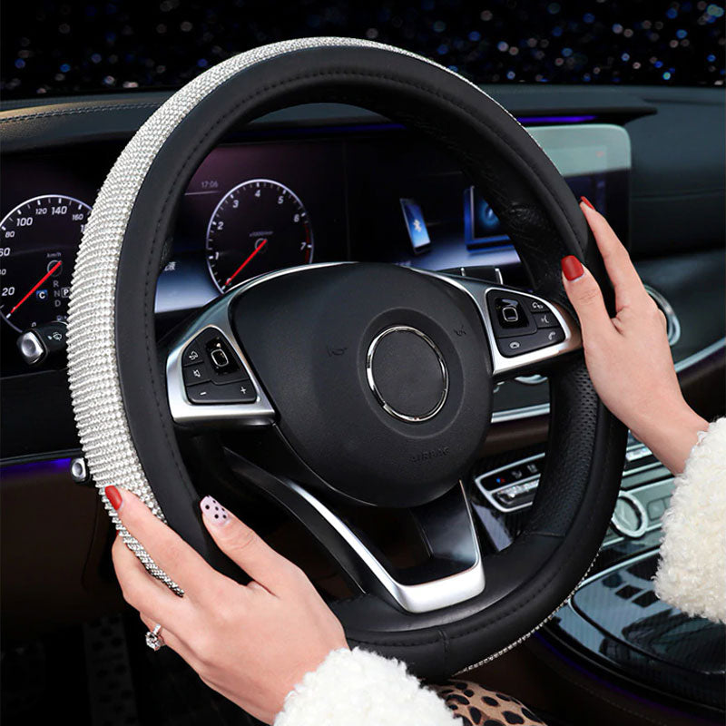 Fashion Car  Steering Wheel Cover With Red Thread Black Fast Shipping !
