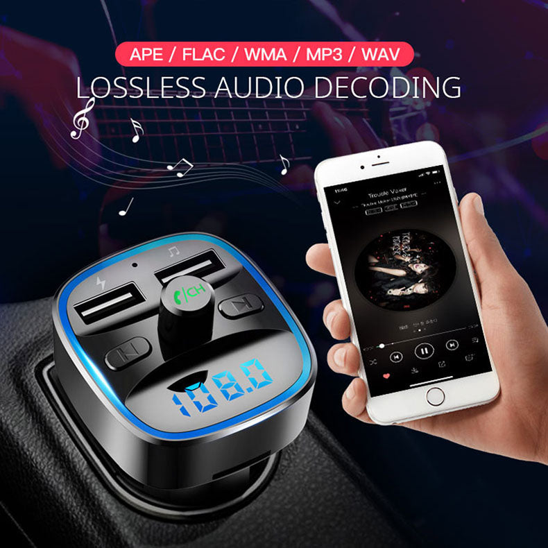 Bluetooth Transmitter Car Kit with Dual USB & Ambient Light