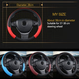 Leather Steering Wheel Cover 15 Inch Contrast Color
