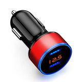 Dual USB Port Car Charger 5V 3.1A with Voltage Meter Red