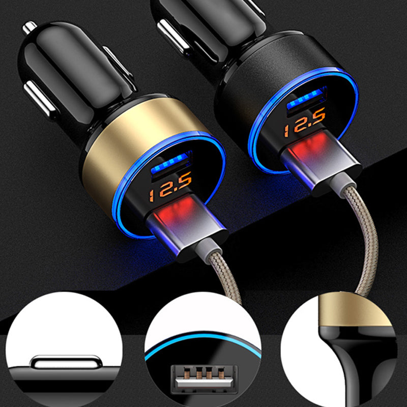 Dual USB Port Car Charger 5V 3.1A with Voltage Meter Silver