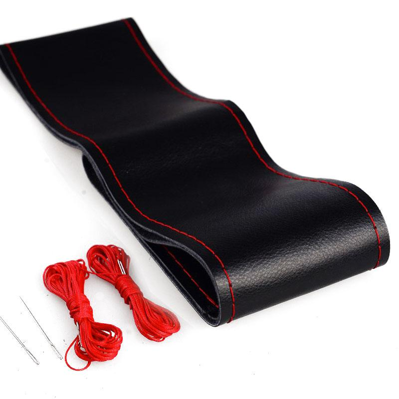 "Hand Stitch Premium Leather Steering Wheel Covers with Red Thread 15""/38cm"