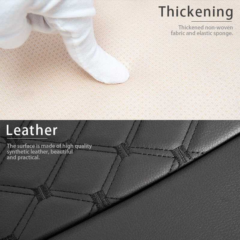 Leather Car Seat Cover for Bottom Only 3D Tailored Universal, Black Image03