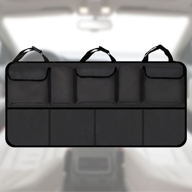 Portable Car Rear Seat Back Storage Cargo Net Trunk Organizer, Black