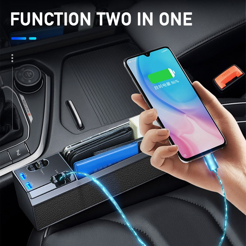 Car Seat Gap Storage Box with USB Port Charge Wire |SEMETAL