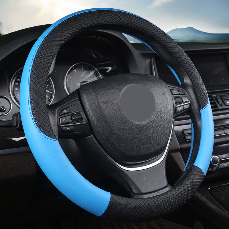 "15"" Leather Steering Wheel Cover Custom Wheelskins Color Blue"