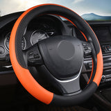 "15"" Leather Steering Wheel Cover Custom Wheelskins Color Orange"