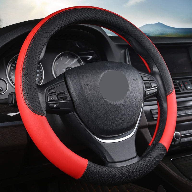 "15"" Leather Steering Wheel Cover Custom Wheelskins Color Red"