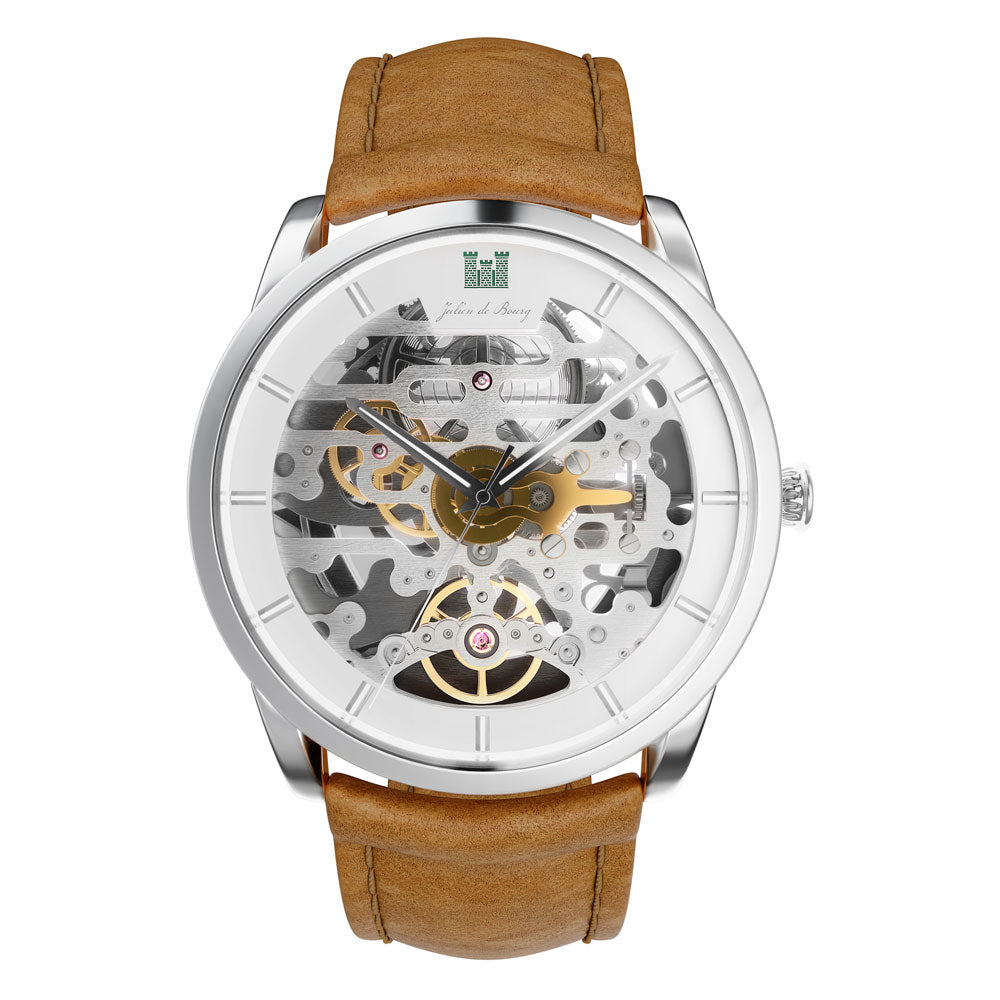 Montrichard Silver & Caramel Automatic Watch