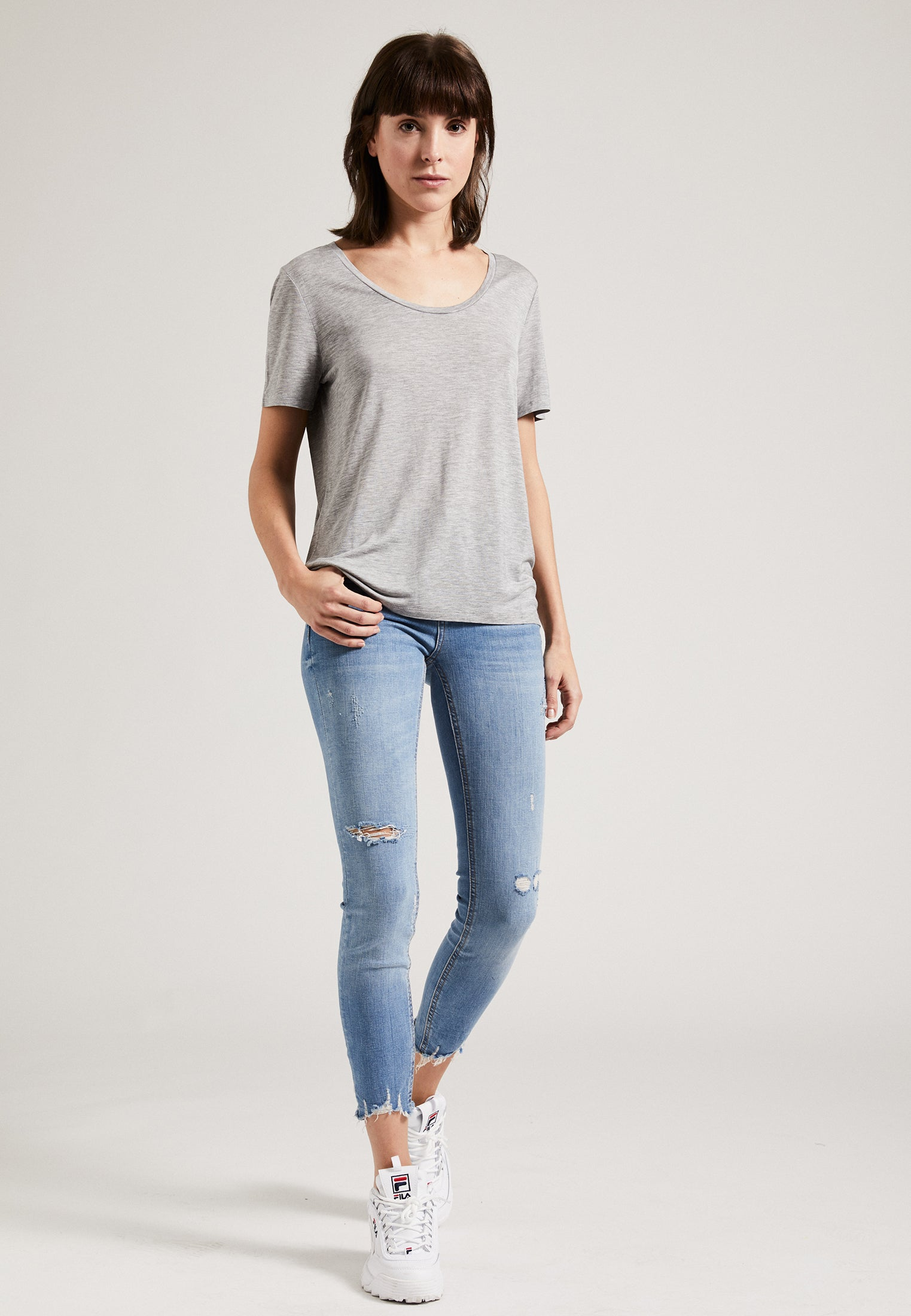 Tencel Round Neck T-Shirt Grey