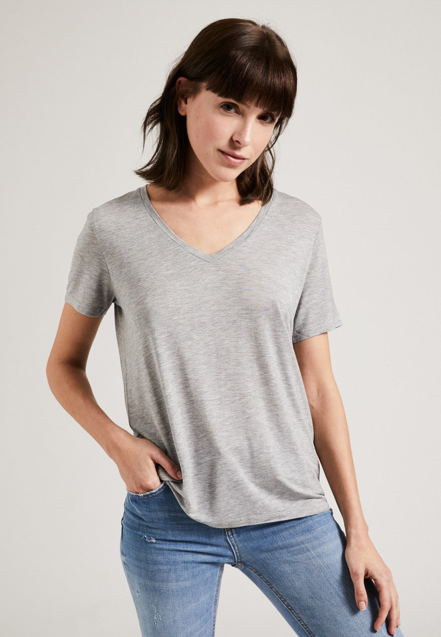 Tencel V-Neck T-Shirt Grey
