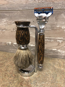 Black Palm Wood Razor & Badger Brush Set