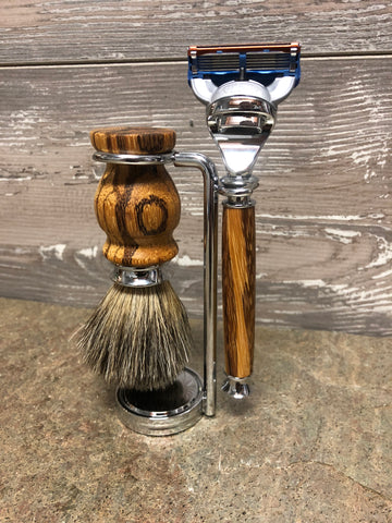 Marble Wood Razor & Badger Brush Set