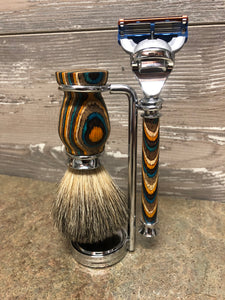 Southwest Wood Razor & Badger Brush Set