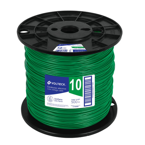 Cable THHW-LS, 10 AWG, verde, bobina 500 m