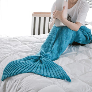 Knitted Swimming Mermaid Tail Blanket