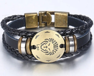 Zodiac Men's Leather Bracelet