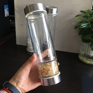 Natural quartz crystal water bottle