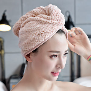 Microfiber turban dry bath towel double-sided