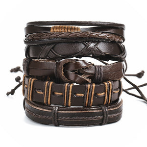 Men vintage multi layer leather bracelet