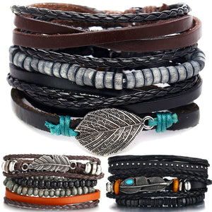 Unisex vintage leather bracelet set