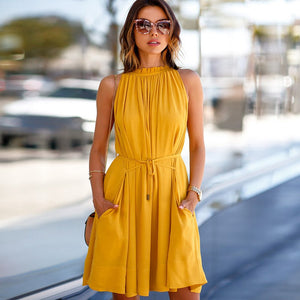 Sunshine ruffles sleeveless dresses