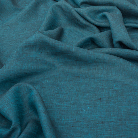 Teal Yarn Dyed 100% Linen Fabric