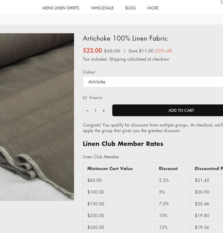 de Linum how to add products to cart