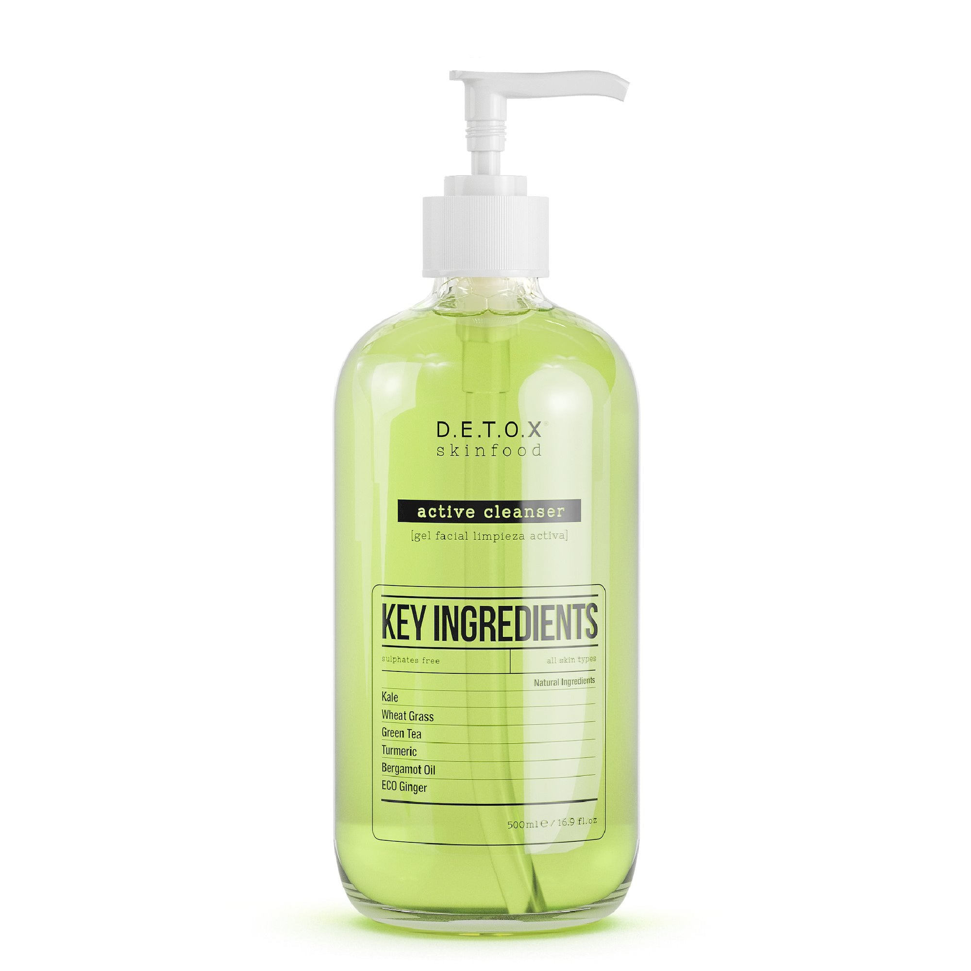 Detox Skinfood Active Cleanser (500ml) Cleansing Gel - Skinspace
