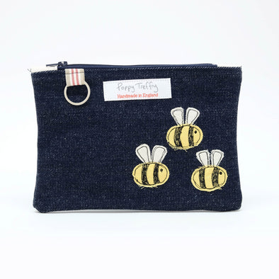 busy bee - flat embroidered purse with keyring pack of 3