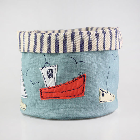 boats embroidered art pot - pack of 2