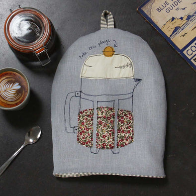 cafetiere (soft blue)  - big coffee cosy