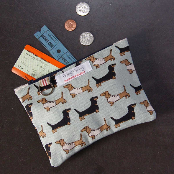 dachshund (duck egg) - flat purse with keyring pack of 6