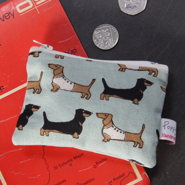 darling dachshund (duck egg) small useful purse - pack of 6