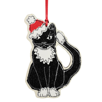 christmas cat - dingly dangly decoration pack of 12