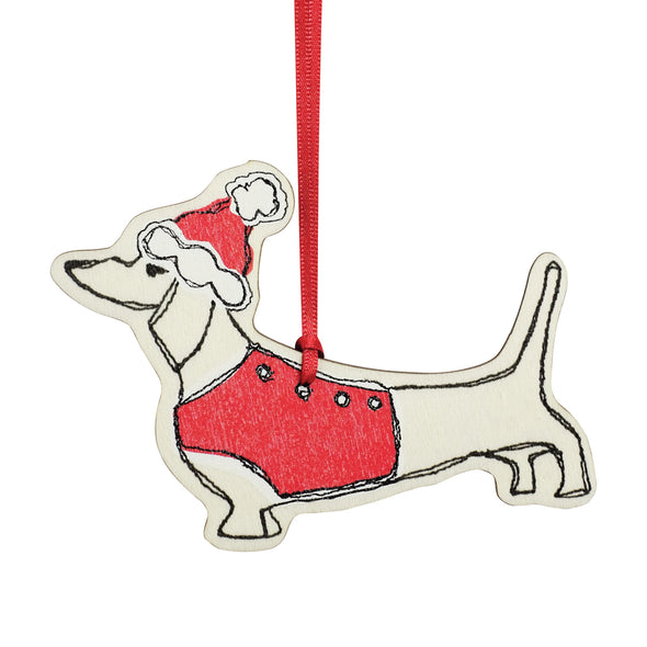 Christmas Dachshund - dingly dangly decoration - pack of 12