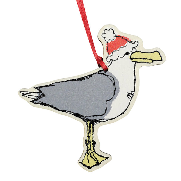 Christmas seagull - dingly dangly decoration pack of 12