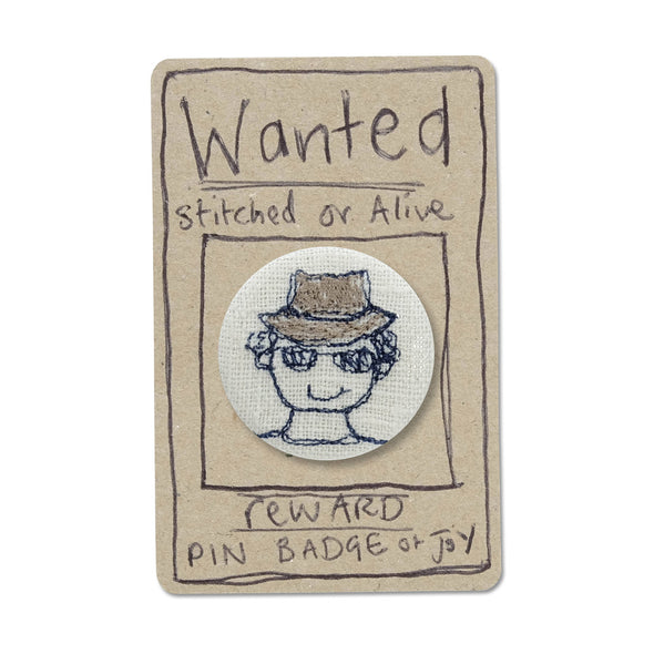 man in hat badge - pack of 5