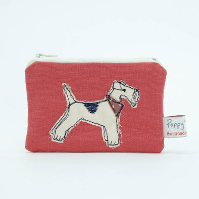 fox terrier - embroidered small useful purse (red) pack of 6