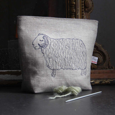 sleepy sheep (natural) - embroidered wash bag pack of 3