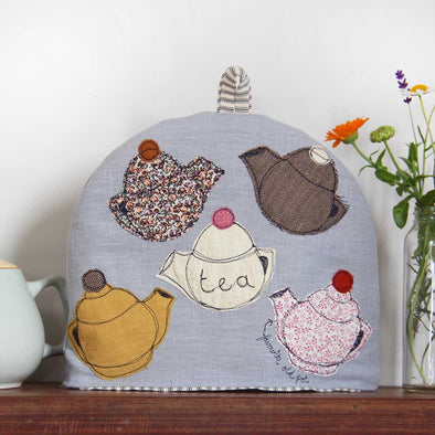 teapots (soft blue) - tea cosy
