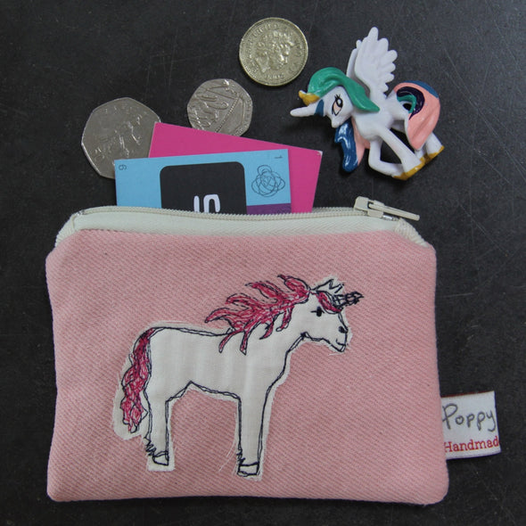 unicorn - embroidered small useful purse pack of 6