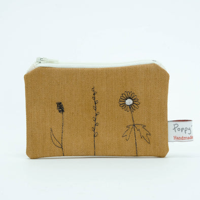Wild grasses - embroidered small useful purse pack of 6