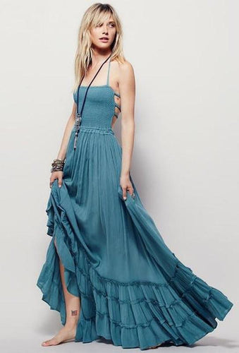 Strappy Backed 'Earth Goddess' Maxi Dress